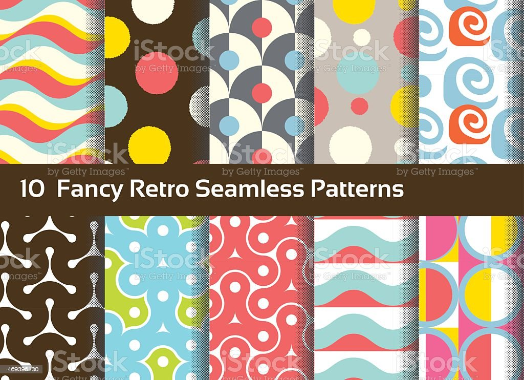 Abstract seamless patterns. Geometrical and ornamental motifs. Retro style vector art illustration