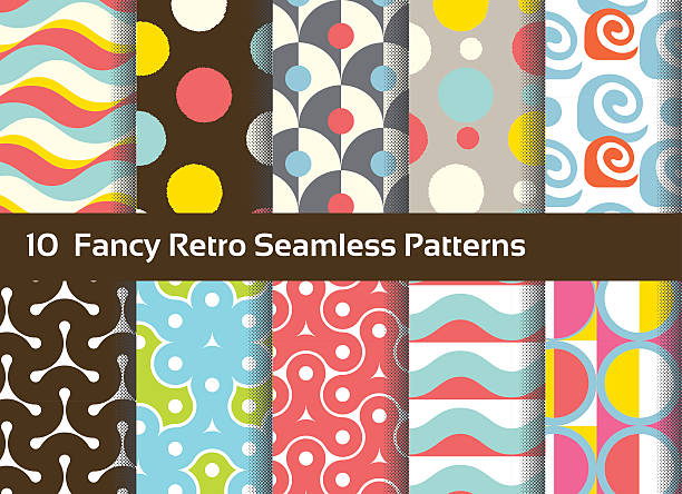 abstract seamless patterns. geometrical and ornamental motifs. retro style - 1970s style stock illustrations, clip art, cartoons, & icons