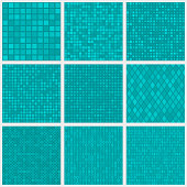 Set of abstract seamless patterns of small elements or pixels of various shapes in light blue colors