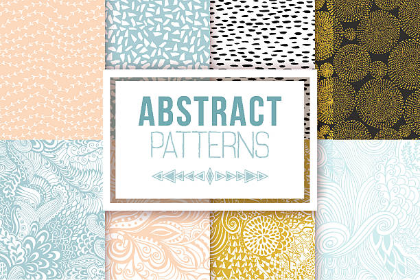 Abstract seamless patterns se vector textures Abstract patterns set. Vector textures. Ethnic backdrop, retro abstract geometric elements templates in 80s 90s style fragility stock illustrations