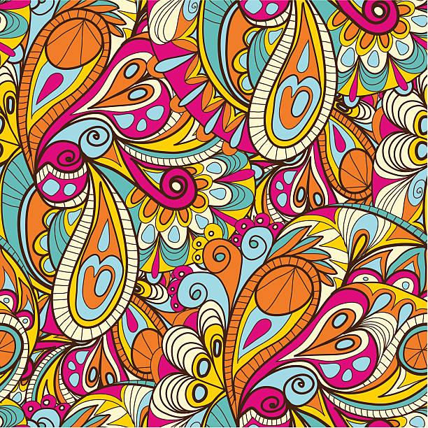 abstrakte nahtlose muster - pashminas stock-grafiken, -clipart, -cartoons und -symbole