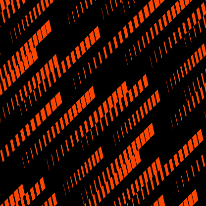 Sport pattern. Abstract geometric seamless texture with diagonal lines, tracks, halftone stripes. Extreme sporty style, urban art design. Trendy vector background in neon colors, orange red and black