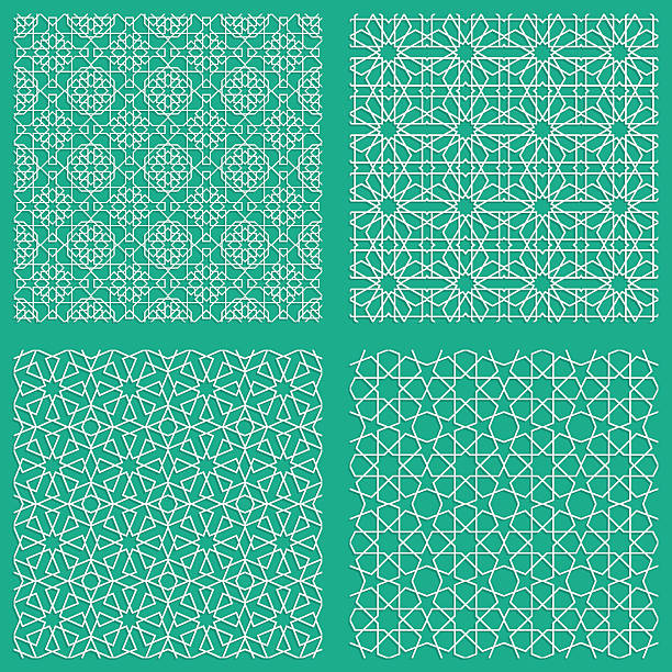 abstract seamless traditional arabian patterns in blue stock vector