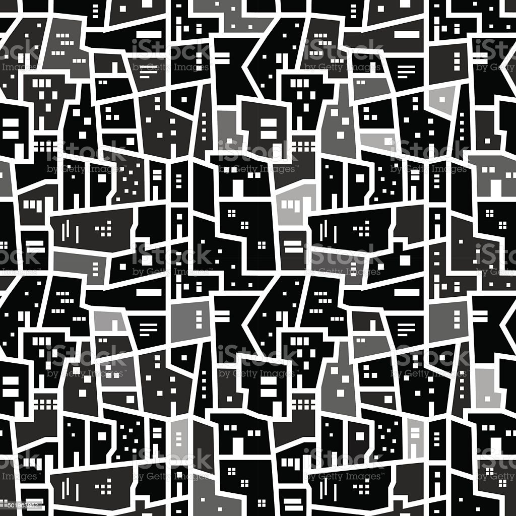Abstract seamless urban pattern vector art illustration