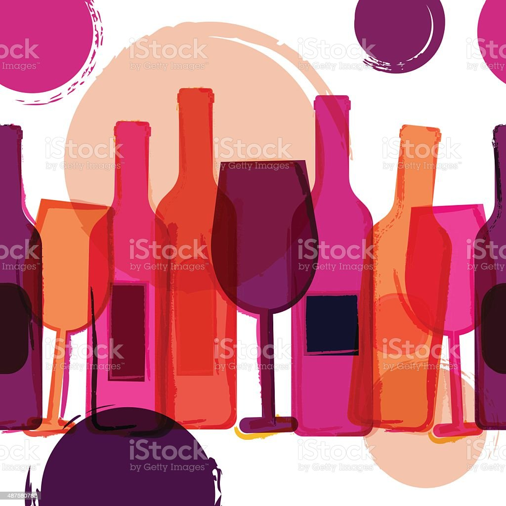 Abstract seamless vector background. Wine bottles, glasses and watercolor blots. vector art illustration