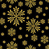 Abstract Seamless Pattern Vector Background with Gold Glitter Snowflakes