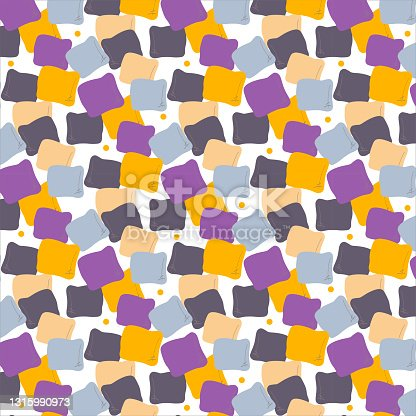 Abstract seamless vector colorful pattern with square pillow. The design for decorations, backgrounds, wrapping paper