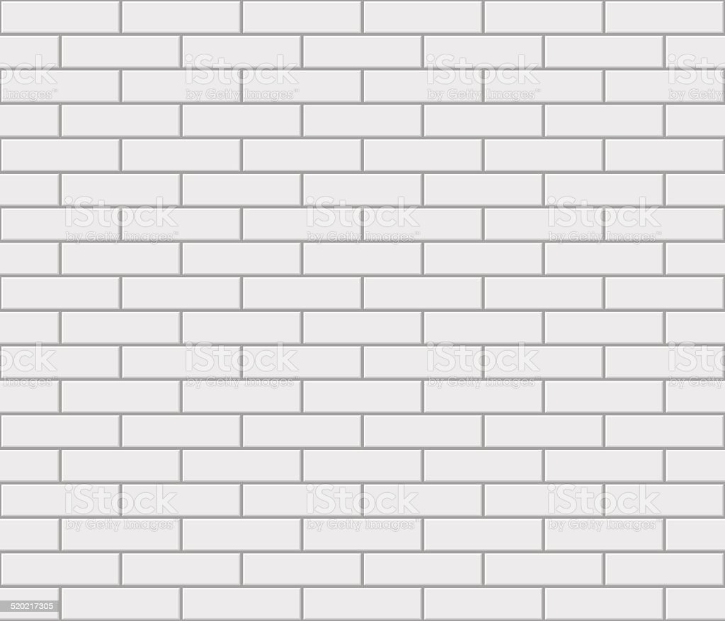 Abstract seamless white flat brick wall vector art illustration