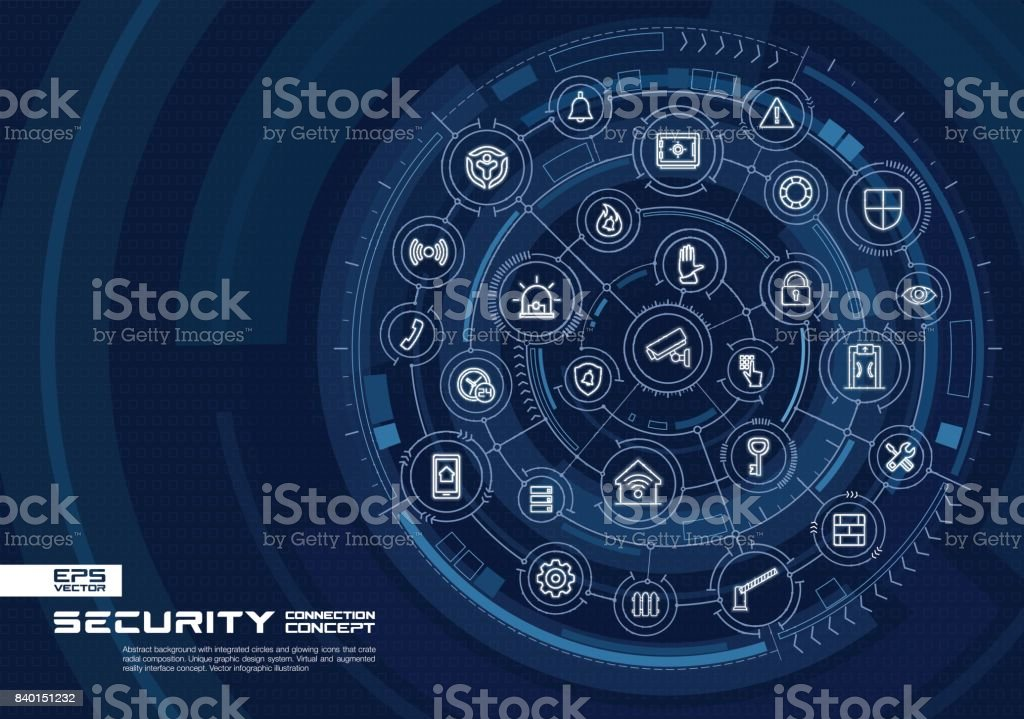 Abstract security, access control background. Digital connect system with integrated circles, glowing thin line icons. vector art illustration