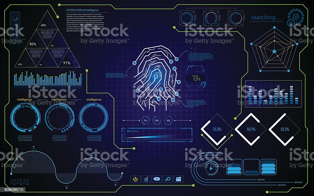 abstract security concept HUD ui interface design template background vector art illustration