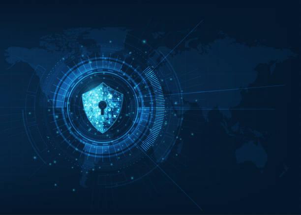 abstrakte sicherheit digitale technologie background.protection mechanismus und system privacy.vector illustration. - abwehr stock-grafiken, -clipart, -cartoons und -symbole
