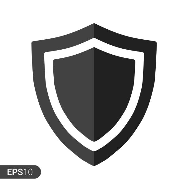 Abstract security vector icon illustration isolated on white background. Shield security icon. Lock security icon. Abstract security vector icon illustration isolated on white background. Shield security icon. Lock security icon. shield stock illustrations