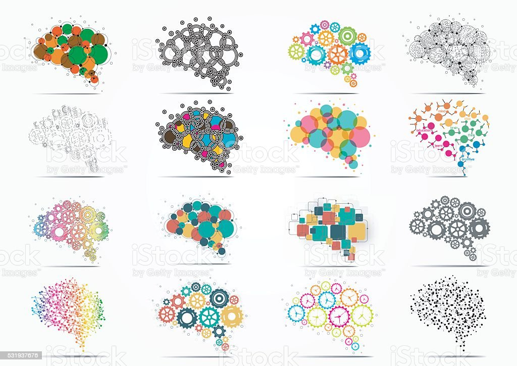 Abstract set brain graphic vector art illustration