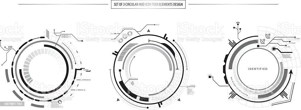 abstract set of 3 HUD elements icon hi tech design vector art illustration