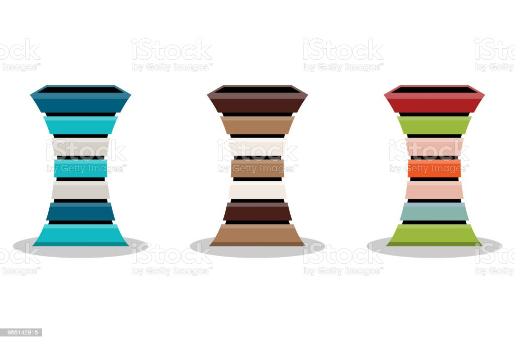Abstract set of wooden flowerpot or basket isolated on white background, vector illustration - Royalty-free Abstract stock vector
