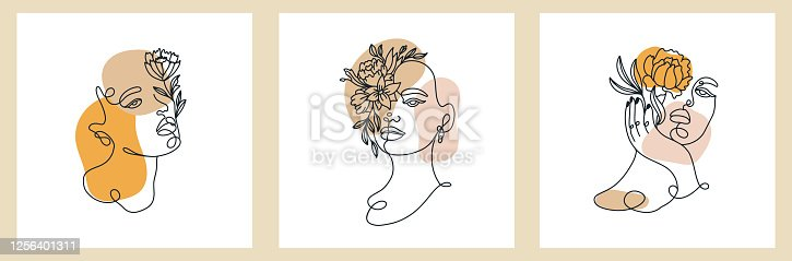 Abstract set with Woman face, silhouette, floral elements one line drawing. Vector cards in minimalistic style. Continuous line. Modern Design concept.