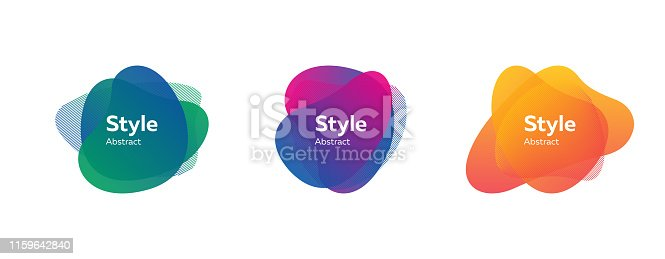 Abstract shape set. Blue, green, purple, orange fluid striped forms. Transparent layers, text sample, paper style, gradient colors. Vector illustration for brochure, poster, logo, label design