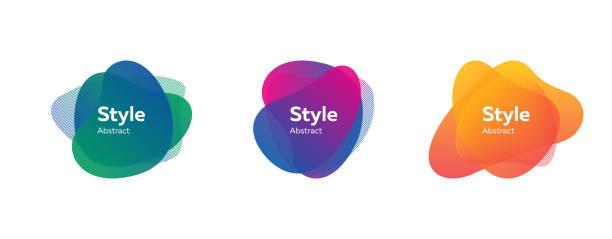 abstract shape set. blue, green, purple - органическое вещество stock illustrations