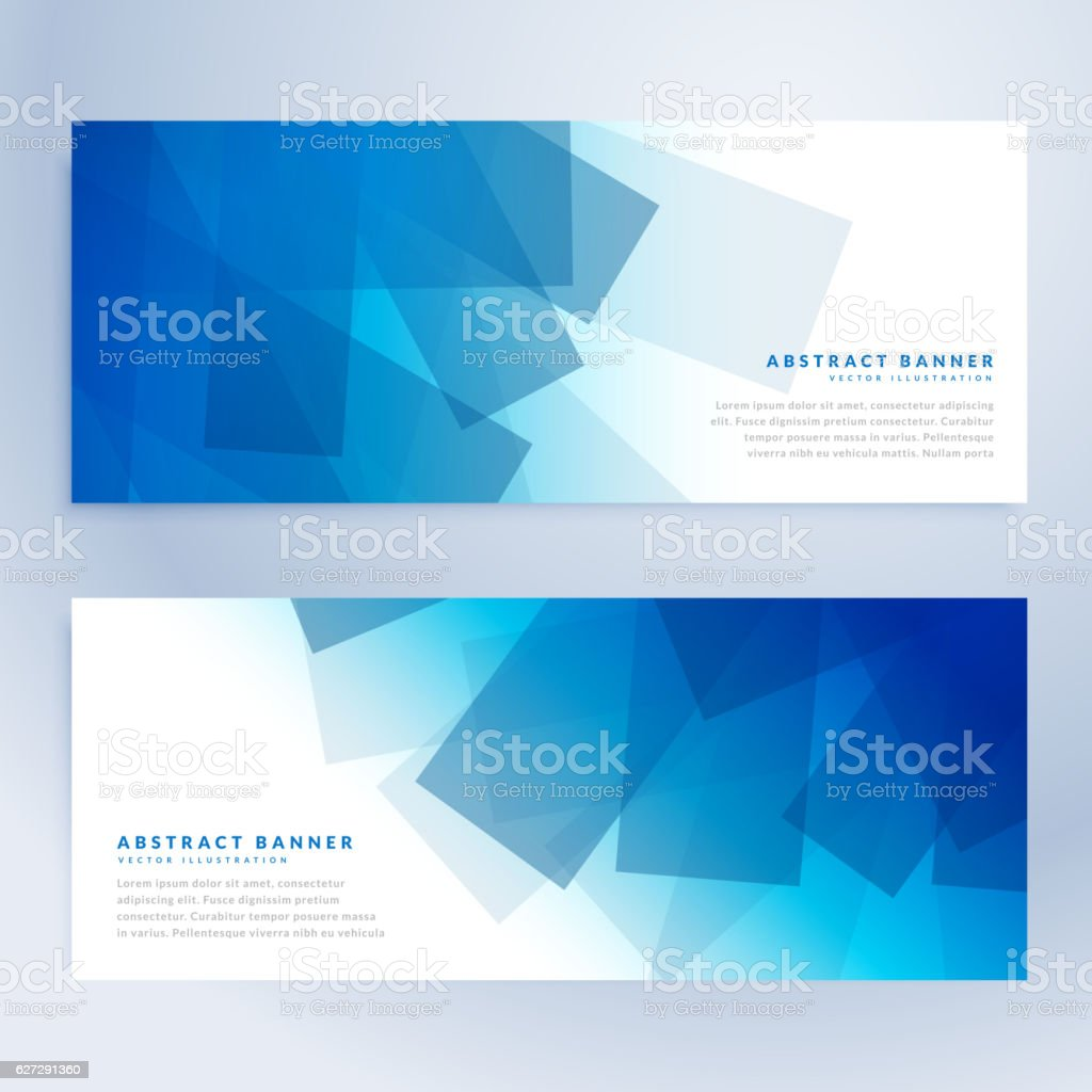 abstract shapes banners in blue color - ilustración de arte vectorial
