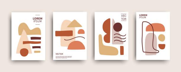 ilustrações, clipart, desenhos animados e ícones de coleção de modelos de modelos de composição de formas abstratas - organic shapes