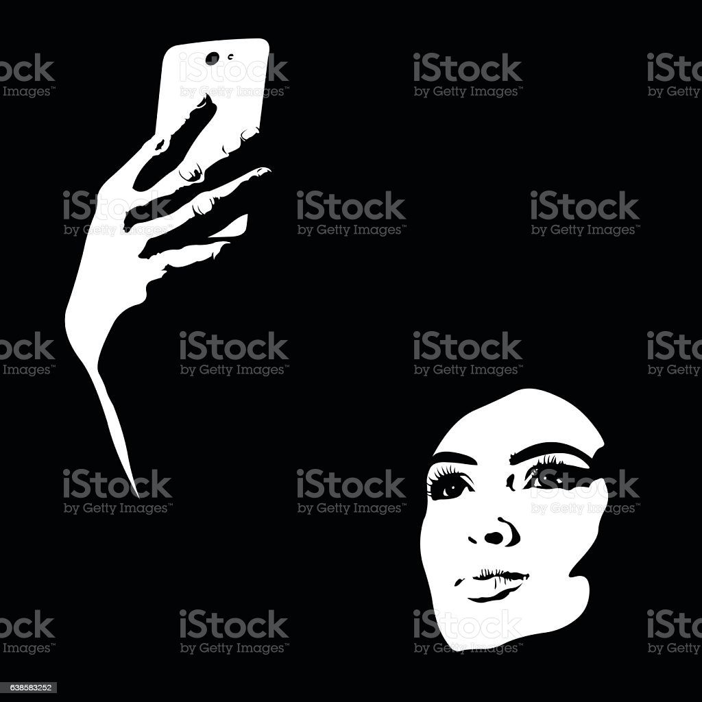 Abstract shapes creative portrait of young woman taking selfie vector art illustration