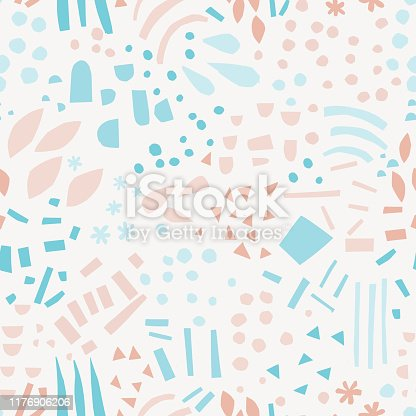 Abstract shapes hand drawn color seamless pattern. Drops, lines, triangles, dots, snowflakes cartoon texture. Geometric elements sketch illustration. Ethnic, tribal flat background vector design