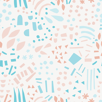 Abstract shapes hand drawn color seamless pattern