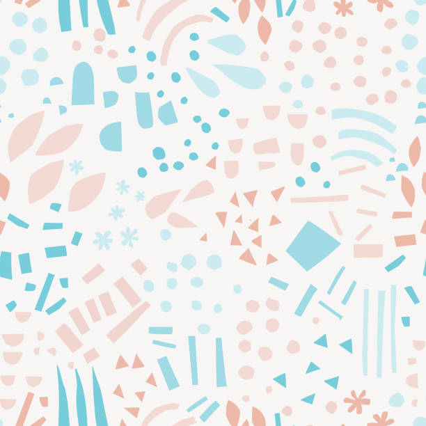 Abstract shapes hand drawn color seamless pattern Abstract shapes hand drawn color seamless pattern. Drops, lines, triangles, dots, snowflakes cartoon texture. Geometric elements sketch illustration. Ethnic, tribal flat background vector design cute stock illustrations