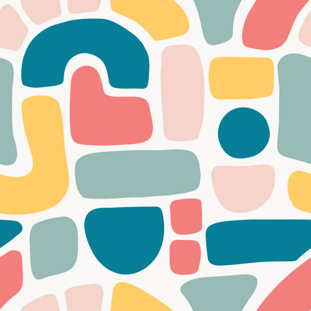 Abstract shapes seamless vector pattern. Blocks, arcs, dots in blue, teal, pink, red on white. Hand drawn vector texture background. Flat cut out. Mosaic puzzle art for fabric, wallpaper, banner vector art illustration