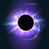 Abstract shining in space. Solar eclipse, astronomical phenomenon - full sun eclipse. Glow light effect. Star burst with sparkles. The planet covering the Sun in eclipse