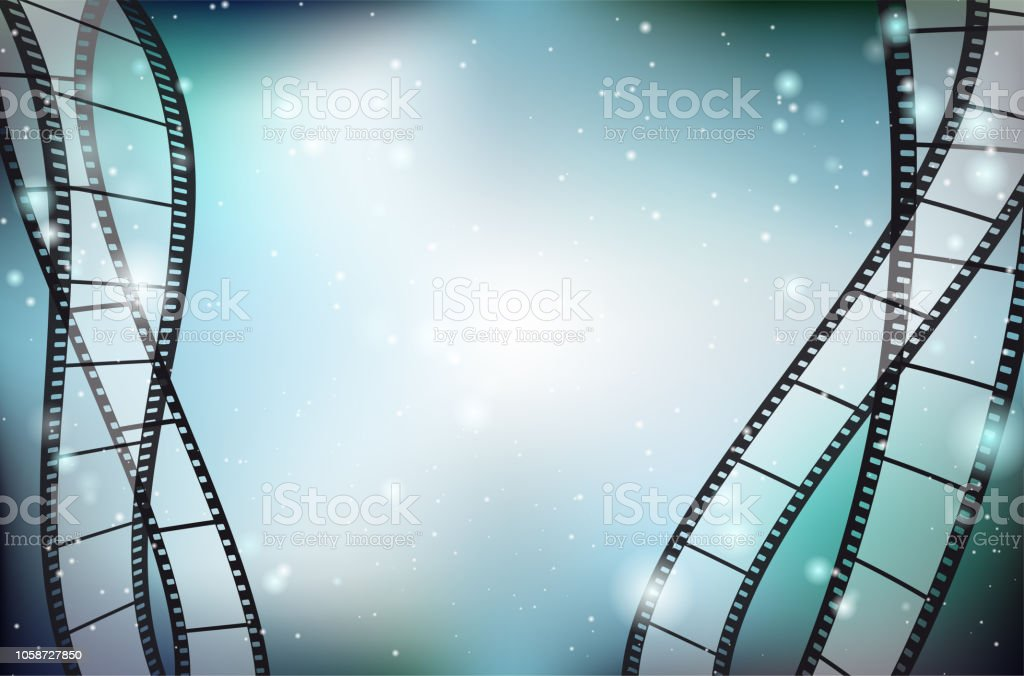 Abstract shiny background with blank film strips and copy space vector art illustration
