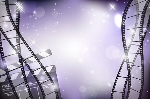 Abstract shiny background with blank film strips and film flap