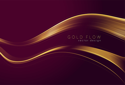 Abstract shiny color gold wave design element on dark burgundy background. Fashion motion flow design for voucher, website and advertising design. Golden silk ribbon for cosmetic gift voucher