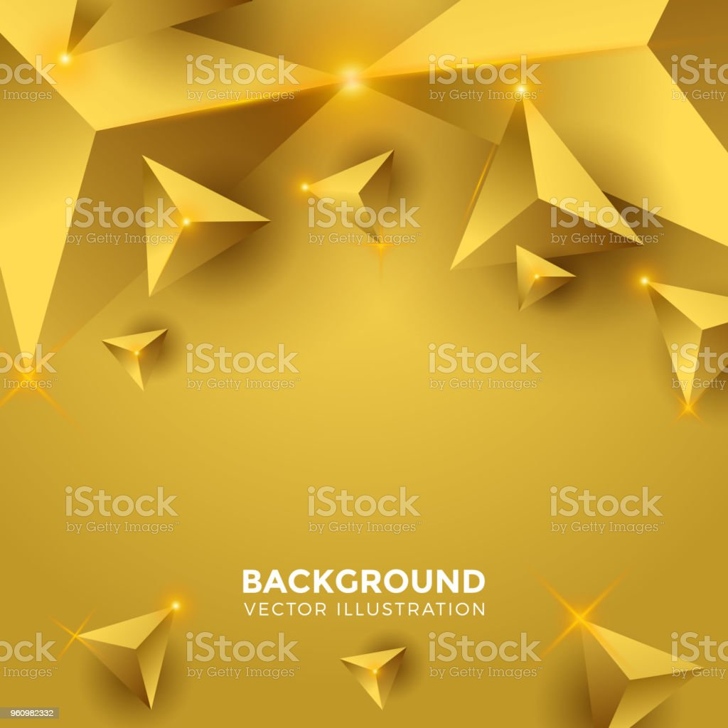 Abstract Or Brillant Fond Triangle Triangles 3d Papier Peint Moderne