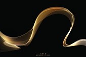 Abstract shiny gold wave stripe on dark background design element for design template, vector illustration