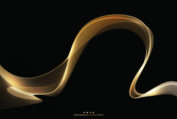 Abstract shiny gold wave stripe on dark background, vector illustration vector art illustration