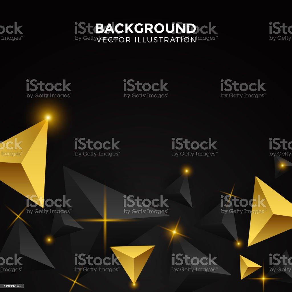 Abstrait Blanc Noir Or Brillant Fond Triangle Triangles 3d Papier