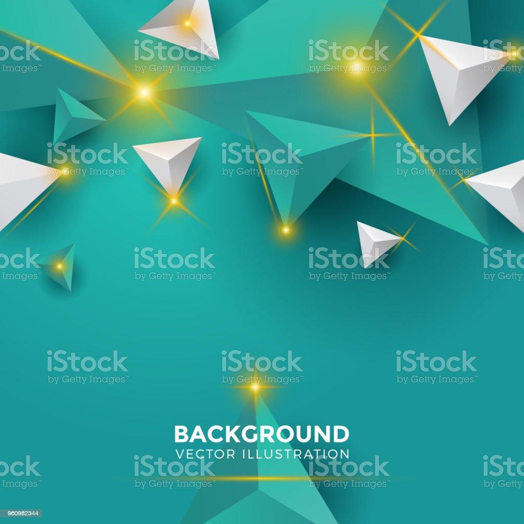 Resume Brillant Blanc Noir Vert Tosca Fond Triangle Triangles 3d