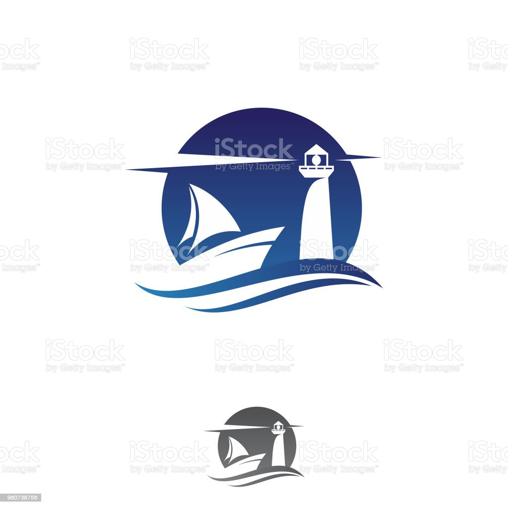 Abstract ship and lighthouse vector design icon vector art illustration