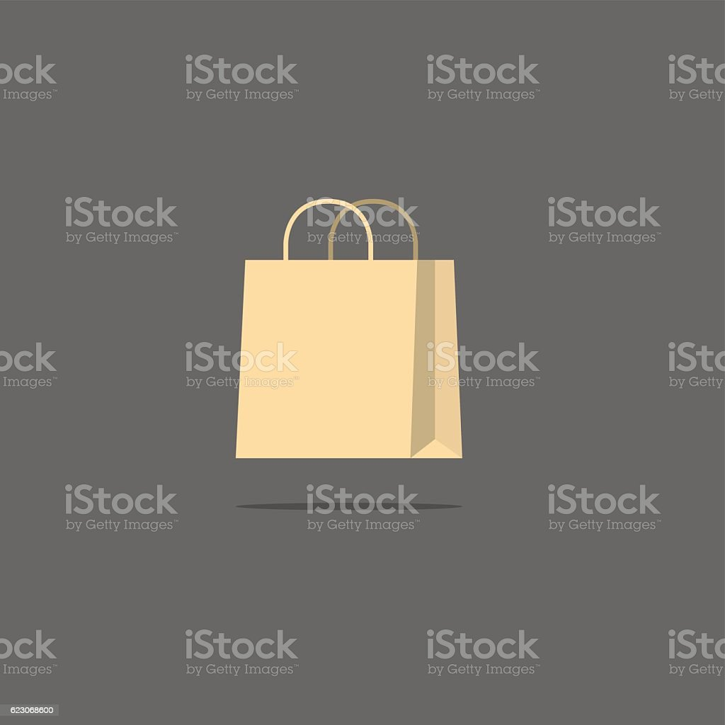 Abstract shopping bag vector flat style icon vector art illustration