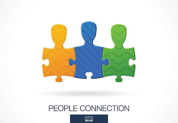 stockillustraties, clipart, cartoons en iconen met abstract sign for business company. social media, network idea. people - drie personen