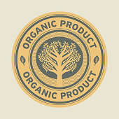Abstract sign or label with text Organic product, vector illustration