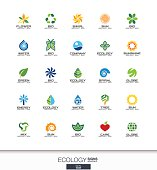 Abstract sign set for business company. Corporate identity design elements. , Ecology plant, bio nature, tree, flower concepts. Environment, green, recycle collection. Colorful Vector icons