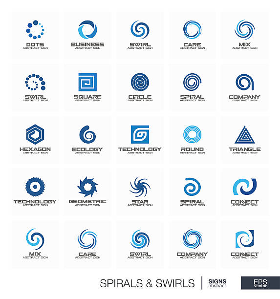 abstract sign set for business company. wave, circle, spring, rotation - spiral stock illustrations, clip art, cartoons, & icons