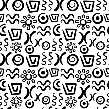 Abstract signs and elements, ancient writing. Seamless pattern. Hand drawn Vector doodles of ancient ethnic traditional symbols. Ritual screen printing. Artistic hand painting