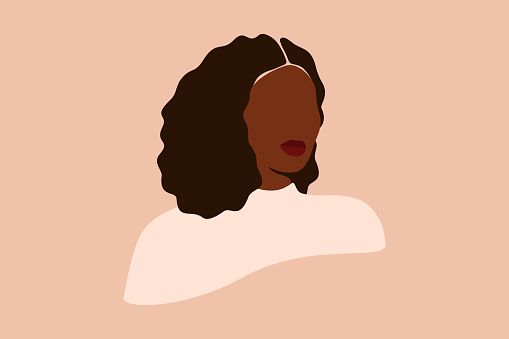 Abstract Silhouette of Black woman with curly hair. Confident young female with dark brown skin portrait.