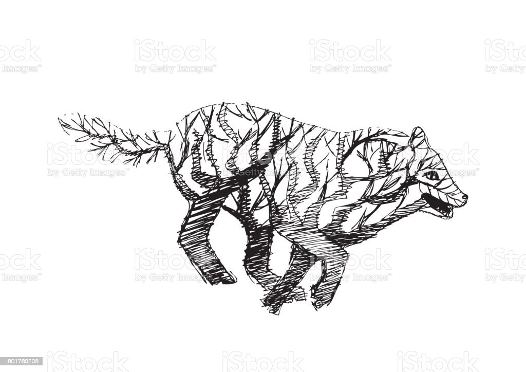 Lobos Perros Siluetas Mamíferos: Ilustración De Resumen Silueta De Lobo Con El Árbol Y