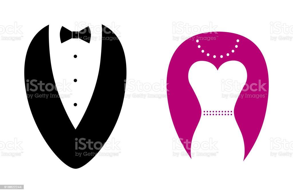 Ilustración De Sillhouete Abstractos Símbolos De Hombre Y Mujer Y