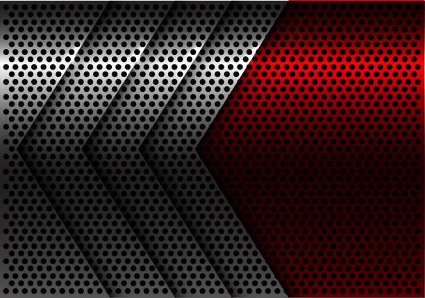 abstrakte silberpfeil roten kreis mesh design moderne futuristische hintergrund vektor-illustration. - edelrost stock-grafiken, -clipart, -cartoons und -symbole