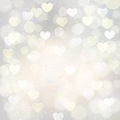 abstract silver background with transparent hearts